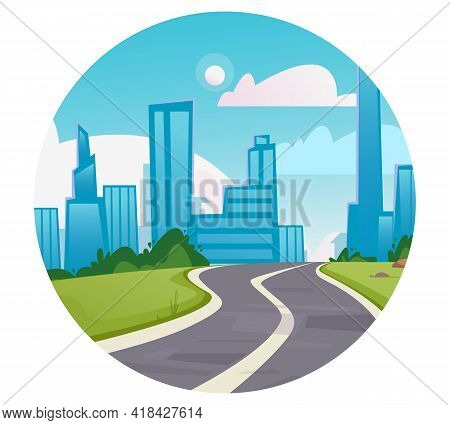 Round Logo Icon. Vector Of A Winding Road Leading To A Big City. High-rise Buildings, Business Cente