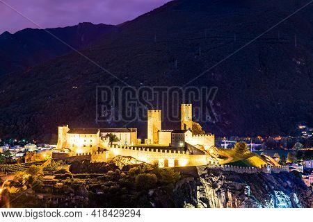 Castelgrande Castle In Bellinzona. Unesco World Heritage In Ticino, Switzerland