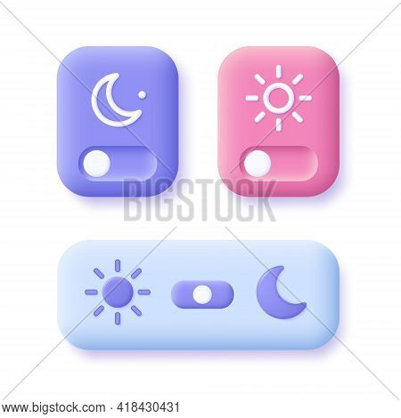 Day And Night Mode Switch Icon Set -  . Interface Ui Symbol Concept. On Off Or Light And Dark Button