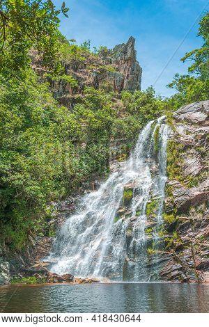 São Roque De Minas - Mg, Brazil - December 15, 2020: View Of Cachoeira Da Mata Waterfall At The Capã