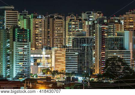 Night Cityscape Of Gleba Palhano Neighborhood At Londrina City, Pr, Brazil. Nightlife On A High Dens