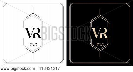 Vr Initial Letter And Graphic Name, V And R Monogram, For Wedding Couple Symbolic, Logo Company And