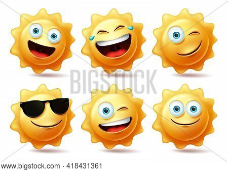 Sun Characters Vector Set. Sun Emoticon Collection In Different Facial Expression For Hot Tropical S