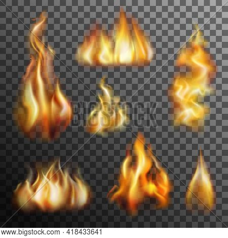 Realistic Burning Fire Transparent Set For Decoration Isolated Vector Illustration
