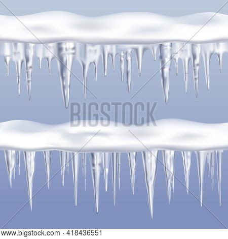Icicles Tileable Borders Set On Blue Background Realistic Isolated Vector Illustration