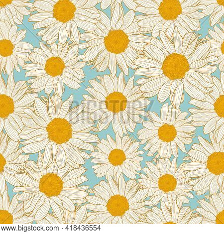 Vector Seamless Pattern Of Yellow And White Chamomile Flowers On Light Turquoise Background. Decorat