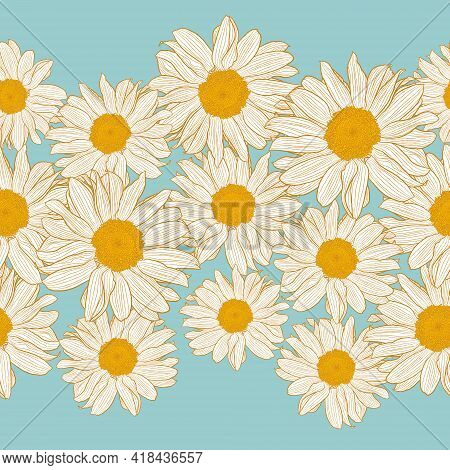 Vector Seamless Border Of Yellow And White Chamomile Flowers On Light Turquoise Background. Decorati