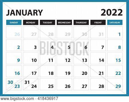 January 2022 Calendar Printable, Calendar 2022, Planner Design, Desk Calendar Template, Wall Calenda