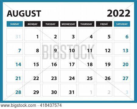 August 2022 Calendar Printable, Calendar 2022, Planner Design, Desk Calendar Template, Wall Calendar