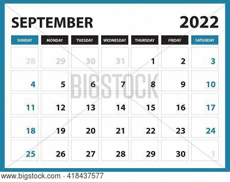 September 2022 Calendar Printable, Calendar 2022, Planner Design, Desk Calendar Template, Wall Calen
