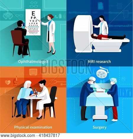 Medical Specialists Mri Scan 4 Flat Icons Square Composition With Operation Room Surgery Abstract Is