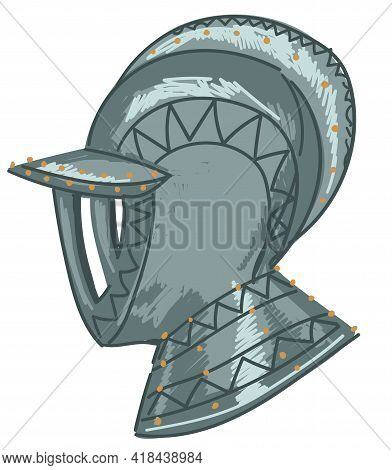 Military Helmet Of Knight, Warrior Armour Vector