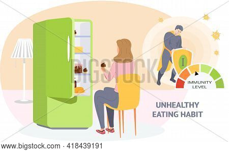 Woman Eats Cupcake From Refrigerator. Eating Junk Food And Pastries. Wrong Way Of Life Concept. Immu