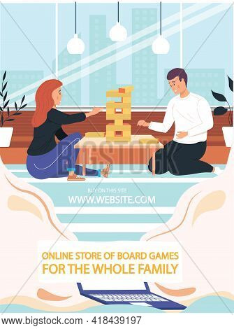 Happy Couple Playing Jenga At Home On Weekend. People Are Spending Time Together And Playing With Bo