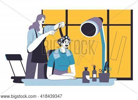 Woman Having Hairdo In Hairdressers Beauty Salon