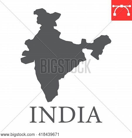 Map Of India Glyph Icon, Country And Travel, India Map Vector Icon, Vector Graphics, Editable Stroke