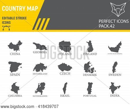 Map Of Country Glyph Icon Set, Country Collection, Vector Graphics, Logo Illustrations, Map Countrie