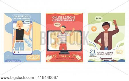 Set Of Illustrations About Training In Translation And Speaking With Native Speakers. Online Lesson