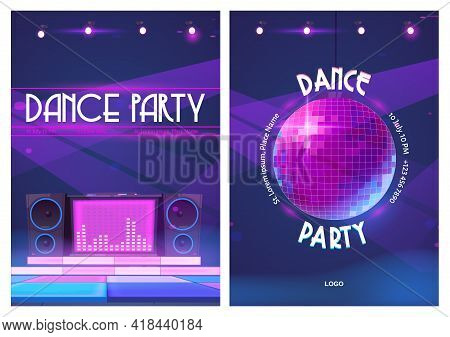 Dance Party Flyers With Disco Ball And Dj Music Console. Posters Of Night Club Event With Discothequ