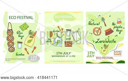 Eco Festival Concept Poster. Using Environmentally Friendly Items Vector Illustration. Ecology And E