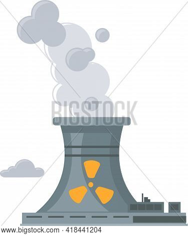 Nuclear Plant, Smoke From Factory Chimney Icon, Air Pollution Concept. Factory With Symbol Of Radiat