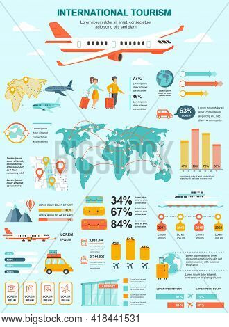 International Tourism Banner With Infographic Elements. Poster Template With Flowchart, Data Visuali