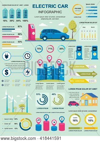 Electric Car Banner With Infographic Elements. Poster Template With Flowchart, Data Visualization, T