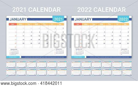Calendar For 2021 2022 Years. Planner Calender Template. Week Starts Sunday. Vector. Yearly Statione