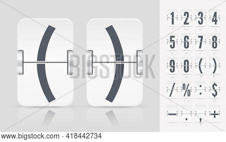 Vector Illustration Template. Flip Number And Symbol Scoreboard On Light Background. White Analog Co