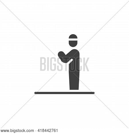 Namaz Prayer Vector Icon. Filled Flat Sign For Mobile Concept And Web Design. Muslim Prayer Man Glyp