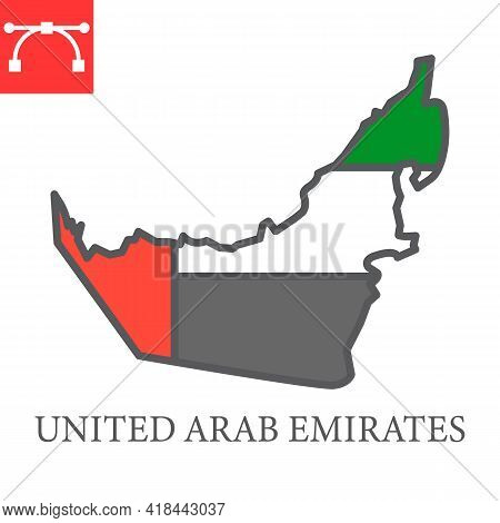 Map Of United Arab Emirates Color Line Icon, Country And Travel, Uae Map Flag Vector Icon, Vector Gr