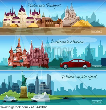 Famous Cities Horizontal Banners Set With Budapest And Moscow Tourist Buildings Isolated Vector Illu