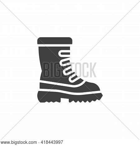 Snow Boots Vector Icon. Filled Flat Sign For Mobile Concept And Web Design. Winter Boots Glyph Icon.