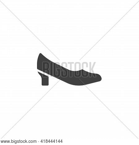 Womens Court Shoes Vector Icon. Filled Flat Sign For Mobile Concept And Web Design. Court Shoes Glyp