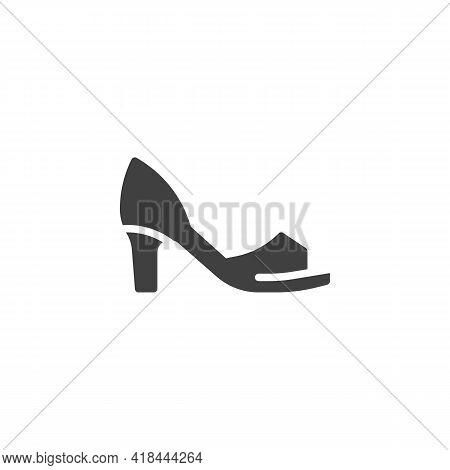 Peep Toe Shoes Vector Icon. Filled Flat Sign For Mobile Concept And Web Design. Womens Peep Toe Heel