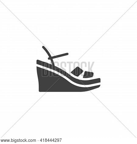 Wedges Sandals Vector Icon. Filled Flat Sign For Mobile Concept And Web Design. Wedges Shoes Glyph I