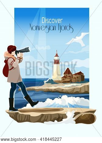 Norwegian Fjord Seascape Poster With Lighthouse On Background Vector Illustration