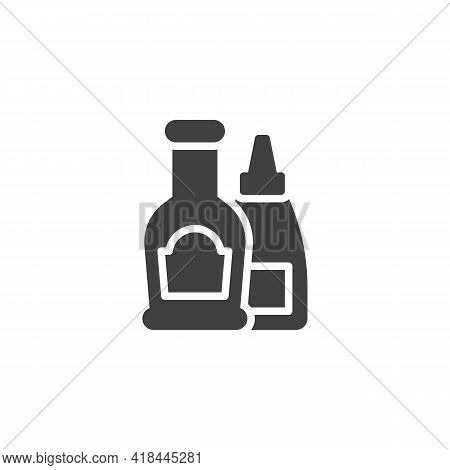 Condiment Bottles Vector Icon. Filled Flat Sign For Mobile Concept And Web Design. Ketchup And Musta