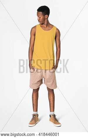 Yellow tank top and shorts men's summer apparel