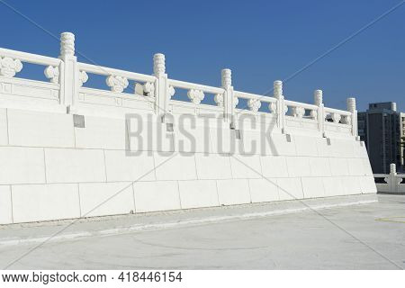 Chiang Kai-shek Memorial Hall Against Blue Sky In Taipei,taiwan.