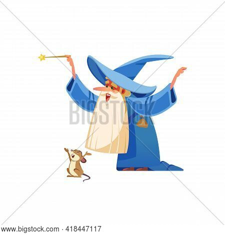 Cartoon Wizard Character. Old Witch Man In Wizards Robe, Magician Warlock And Magic Medieval Sorcere