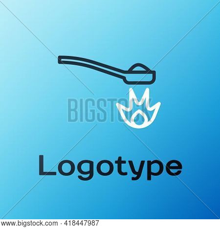 Line Heroin In A Spoon Icon Isolated On Blue Background. Concept Of Drug Addiction And Dependence Fr