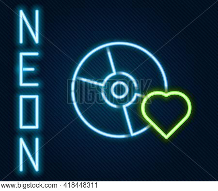 Glowing Neon Line Adult Label On Compact Disc Icon Isolated On Black Background. Age Restriction Sym