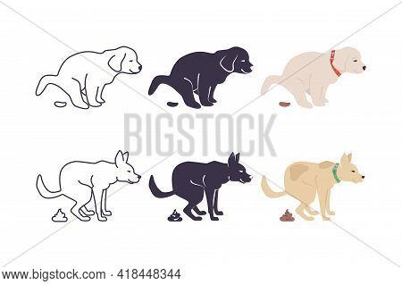 Set With Dog Poop Icons. Dog Goes To Toilet. Dog Defecates