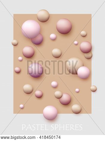 Vector Dynamic Background With Colorful Realistic 3d Balls. Round Sphere In Pearls Pastel Colors On