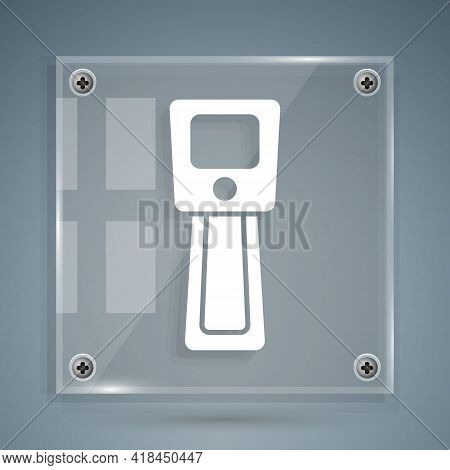 White Digital Contactless Thermometer With Infrared Light Icon Isolated On Grey Background. Square G