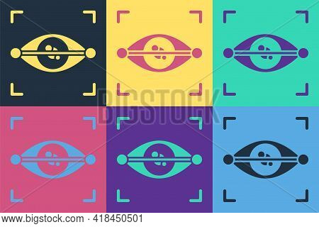 Pop Art Eye Scan Icon Isolated On Color Background. Scanning Eye. Security Check Symbol. Cyber Eye S
