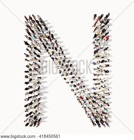 Concept or conceptual large community of people forming the font N. 3d illustration metaphor for unity and diversity, humanitarian, teamwork, cooperation, education, friendship and community