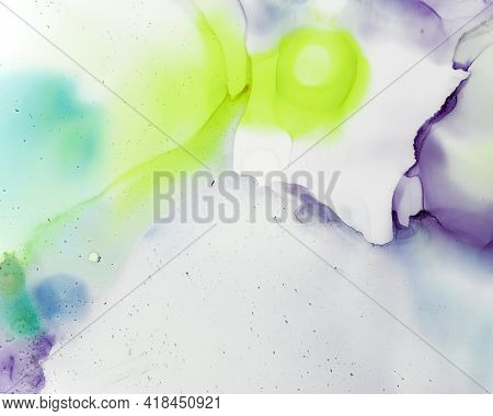 Ethereal Water Pattern. Alcohol Ink Wash Wallpaper. Pink Abstract Spots Painting. Watercolor Color D