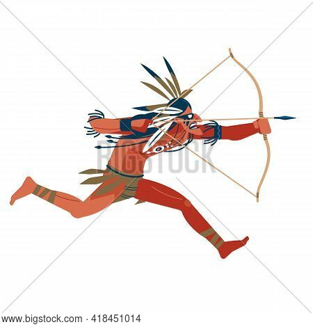 Archer, Maori Warrior Attacks On The Run By Shooting A Bow. Native American Indian Warrior Man With